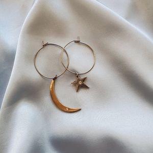 🔵Handmade star and moon hoop earrings